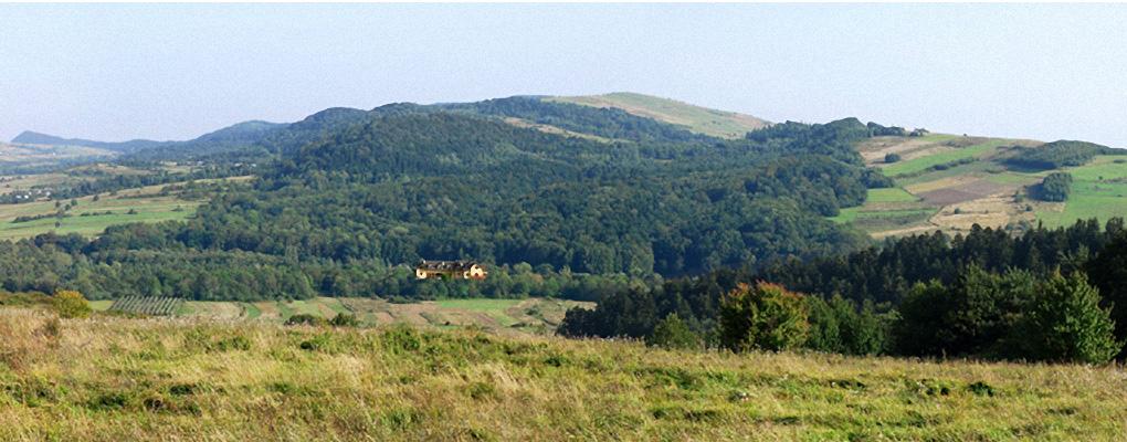 Zajazd na tle panoramy Beskidu Niskiego